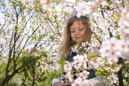 portret Girl little girl in spring flower bloom. Enjoy smell of tender bloom sunny day. Sakura flower concept. Gorgeous flower beauty. flower background. Sakura tree blooming. Park and garden. Stock Photo