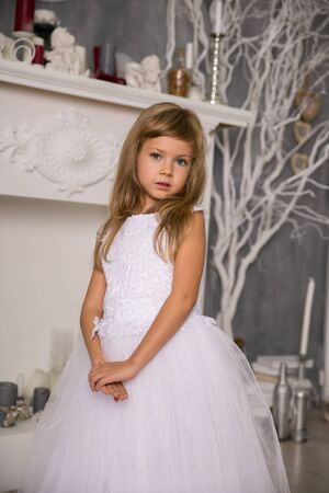 Portrait of cute smiling little girl in princess dress Foto de archivo