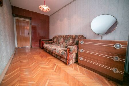 Old ugly apartment flat view from inside, interior, retro style, old Foto de archivo