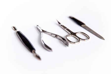 Tools of a manicure set on a white background. Set for manicure on white background