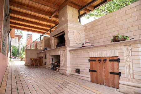 barbecue area. brazier. shish kebab. backyard recreation space, horizontal picture
