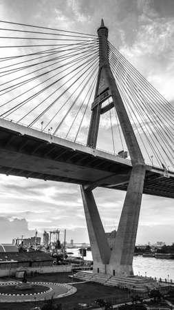 rope bridge: Highway rope bridge in black  white. Big pillar of rope bridge. Stock Photo