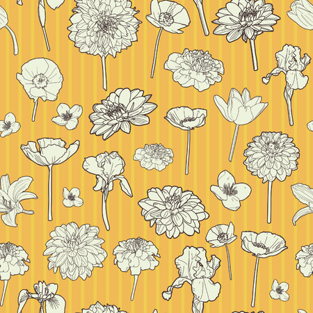 Sunny autumn floral pattern Vector