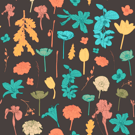Seamless vintage colorful floral pattern Vector