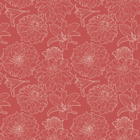 aster: Seamless red vintage floral pattern with lily and aster Illustration