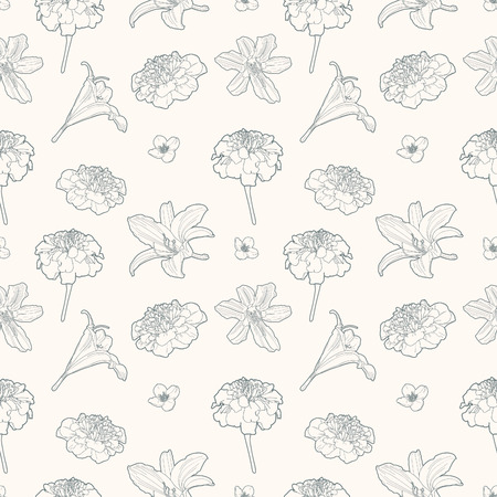 Seamless gentle vintage floral pattern with marigold and lily