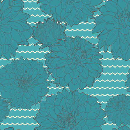 aster: Amazing seamless blue aster pattern Illustration