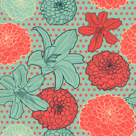 Seamless vintage japanese pattern with lilys Illustration