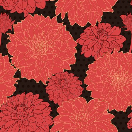 Passion red texture with flowers. Vector