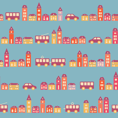Amazing seamless vintage pretty town texture. Vector