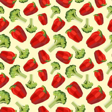 happyness: Vintage polygon pepper broccolli pattern