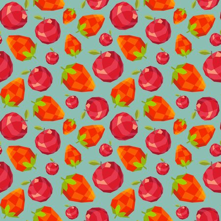 happyness: Vintage polygon strawberry apple pattern Illustration