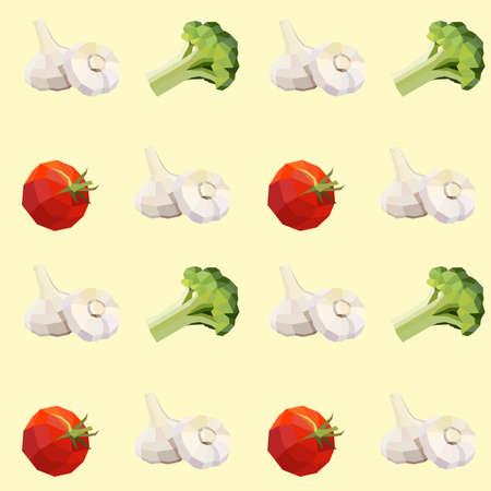 happyness: Vintage polygon tomato garlic broccolli pattern