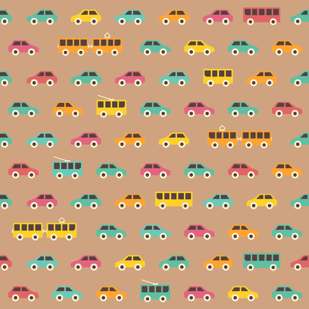 car pattern: Amazing seamless vintage colorful car pattern.