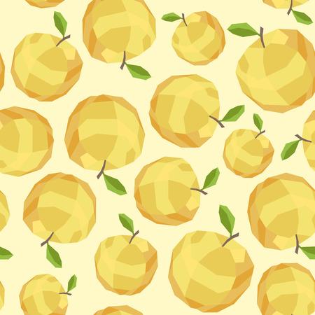 yellow apple: Seamless vintage polygon yellow apple pattern.