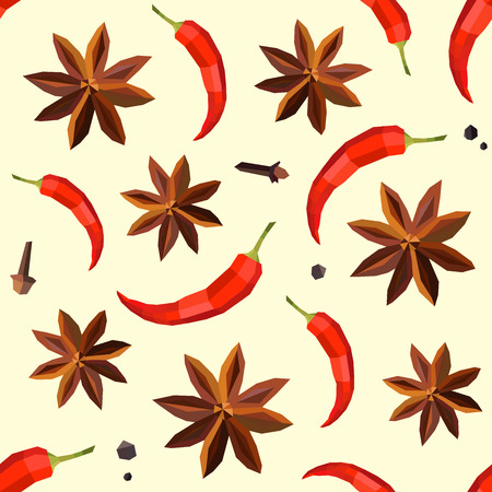 Seamless vintage polygon anise pepper pattern. Vector
