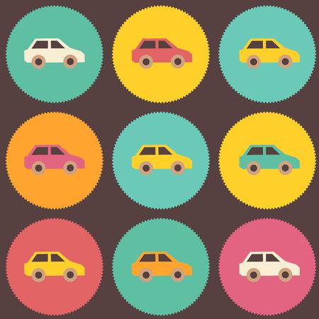 Pop-art amazing seamless vintage car pattern. Vector