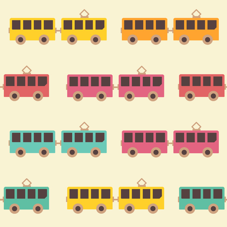 Amazing seamless vintage colorful tram pattern. Vector