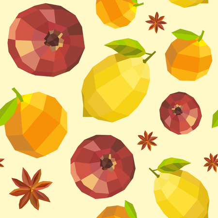 orange pattern: Seamless vintage polygon pomegranate lemon orange pattern.