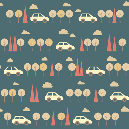 car pattern: Amazing seamless blue vintage car pattern.