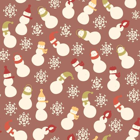 brown pattern: Christmas amazing seamless cute snowman brown pattern.