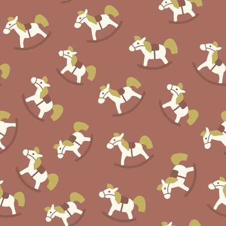 brown pattern: Christmas amazing seamless cute horses brown pattern. Illustration