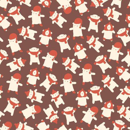 brown pattern: Christmas amazing seamless cute bear brown pattern.