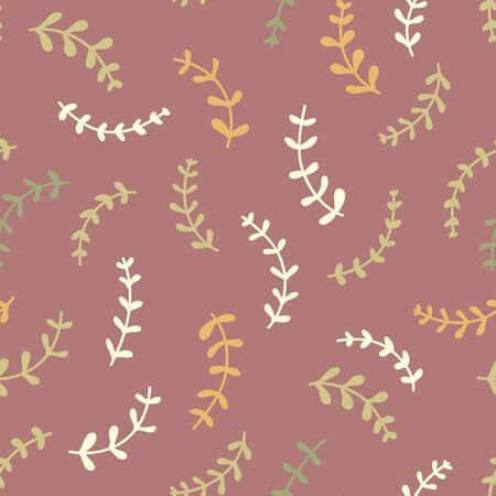 Essential oil vector seamless pattern. Thyme, rosemary, lavender, basil, citronella, pine, ylang-ylang, peppermint, bergamot. Illustration.