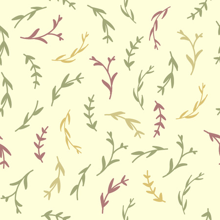 thyme: Essential oil vector seamless pattern. Thyme, rosemary, lavender, basil, citronella, pine, peppermint, bergamot. Illustration. Illustration
