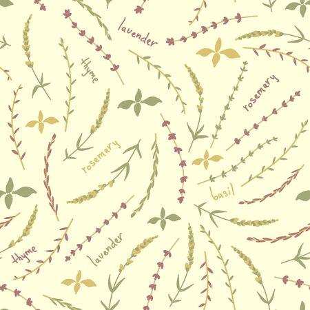 Essential oil vector seamless pattern. Thyme, rosemary, lavender, basil, citronella, pine, peppermint, bergamot. Illustration. Illustration