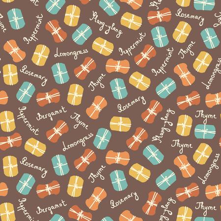 basil leaf: Soap making vector seamless pattern. Thyme, rosemary, lavender, basil, citronella, pine, peppermint. Soap making. Illustration