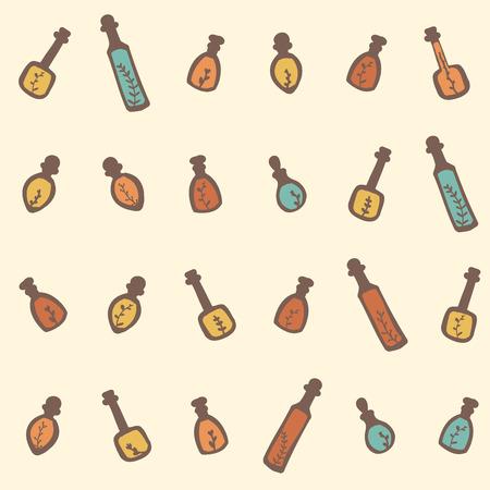 basil leaf: Essential oil vector seamless pattern. Thyme, rosemary, lavender, basil, citronella, pine, peppermint. Illustration. Illustration