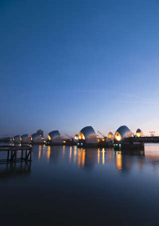 Thames Barrier at night photo