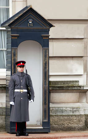 A guard at Buckingham palace in London
