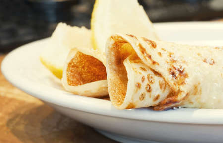 suger: pancakes sprinkled with suger Stock Photo