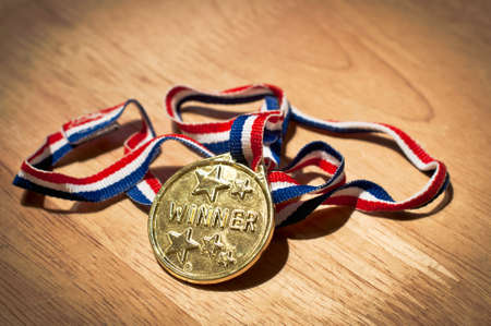 Gold winners medal Stock Photo