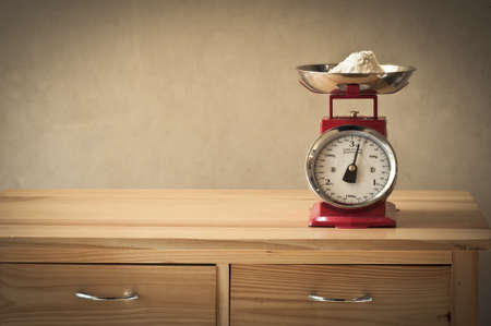 kg: Retro kitchen weighing scales Stock Photo