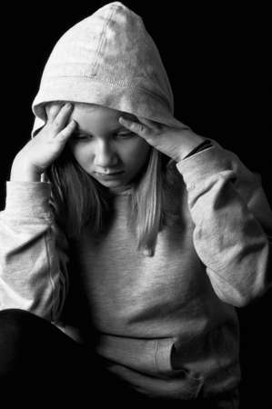 dysfunctional: Sad and lonely child Stock Photo