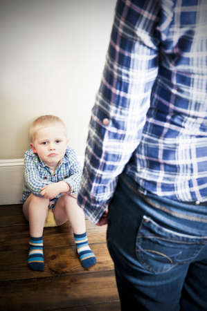cowering: Abused child Stock Photo