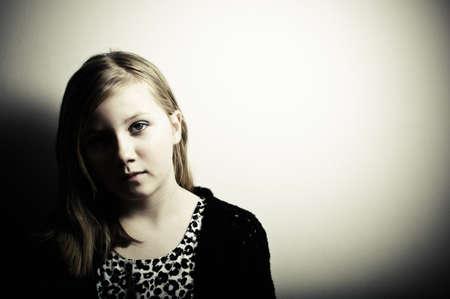scared girl: Depressed child