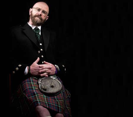 scot: Man wearing a Scottish kilt