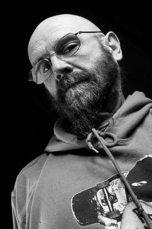 merciless: Scary bald man Stock Photo
