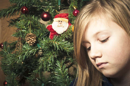 Upset girl at christmas