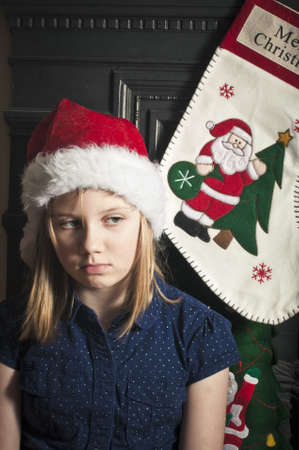 Sad christmas child photo