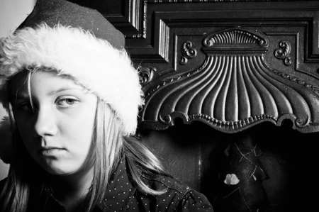 Sad child at christmas photo