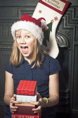 Happy girl at christmas time photo