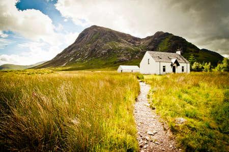 glencoe: Old cottage at glencoe in scotland Stock Photo