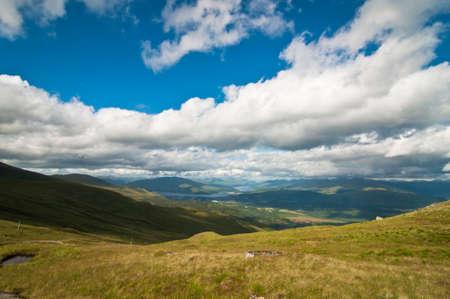 Scottish highlands and blue sky photo