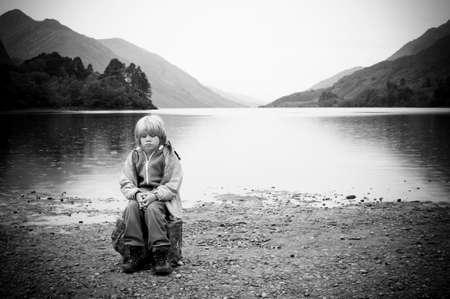 crying child: Abandoned child Stock Photo