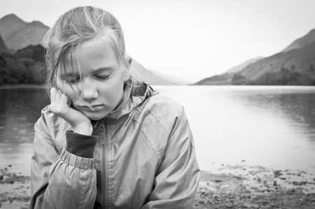 sad and lonely child Stock Photo